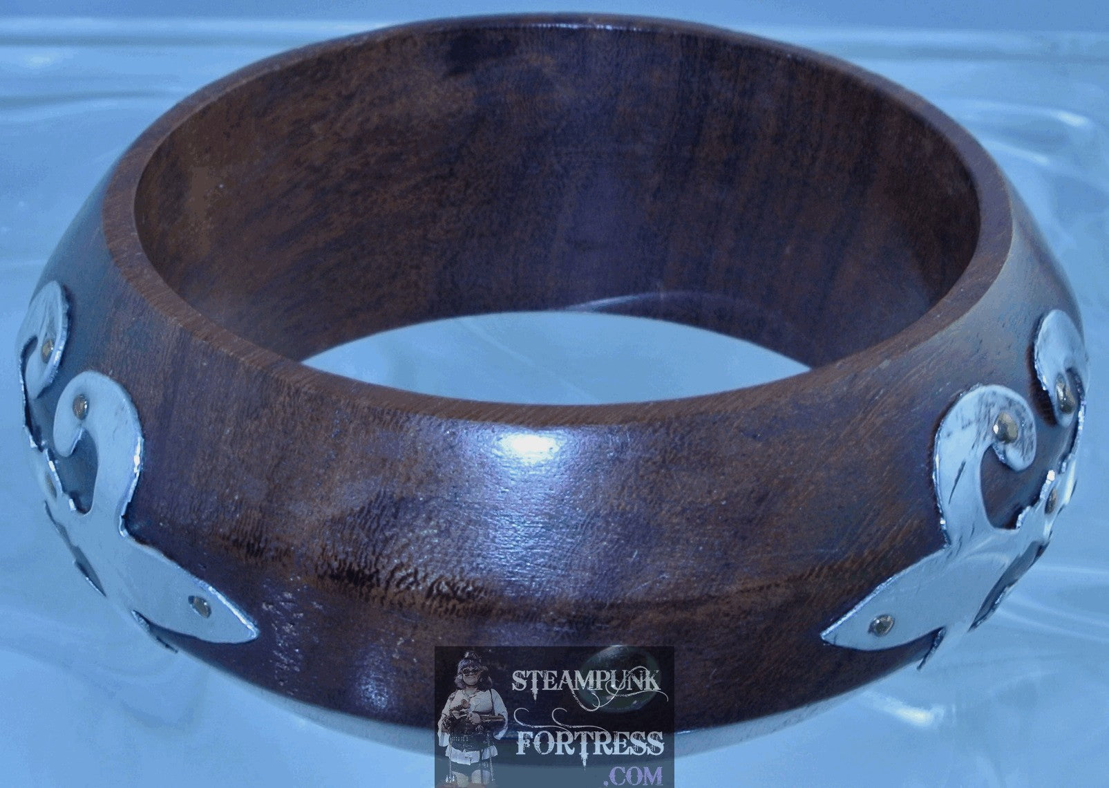 BROWN ROSEWOOD BANGLE 3 SILVER FLEUR DE LIS BRACELET DIESELPUNK STEAMPUNK OUTLANDER FRANCE FRENCH COSPLAY COSTUME HALLOWEEN - MASS PRODUCED