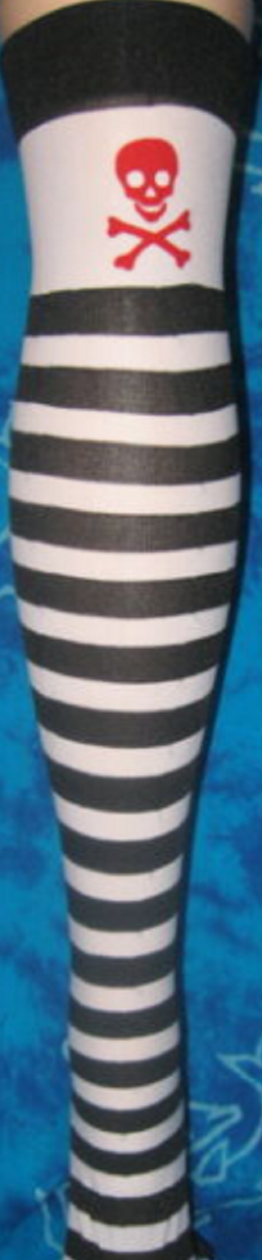 BLACK WHITE STRIPED STRIPES RED SKULL CROSSBONES PIRATE OVER THE KNEE THIGH HIGHS HIS TIGHTS NYLONS HOSIERY STOCKINGS ONE SIZE FITS MOST HALLOWEEN COSPLAY COSTUME - NEW - MASS PRODUCED