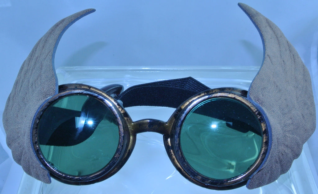 BRASS COPPER WINGED WINGS BROWN WELDING GREEN LENS SAFETY GLASSES STEAMPUNK GOGGLES COSPLAY COSTUME- MASS PRODUCED