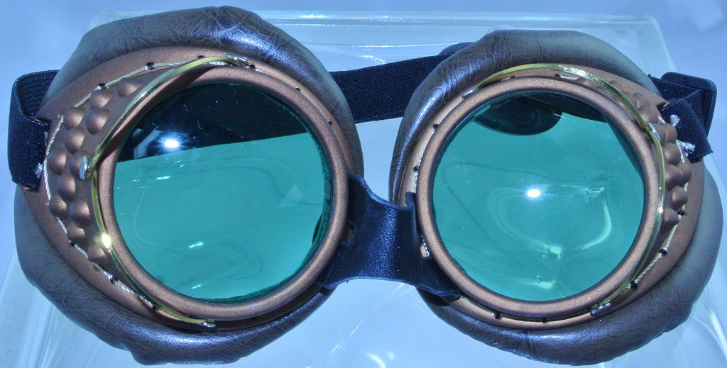 BRASS COPPER BROWN PADDED WELDING GREEN LENS SAFETY GLASSES STEAMPUNK GOGGLES COSPLAY COSTUME- MASS PRODUCED