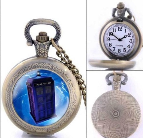 BRASS DOCTOR DR WHO TARDIS WATCH SMALL WORKING POCKETWATCH POCKET WATCH WITH CHAIN AND CLASP - MASS PRODUCED