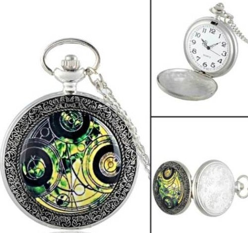 SILVER GREEN DOCTOR DR WHO GALLIFREY HOME PLANET WORKING POCKETWATCH POCKET WATCH WITH CHAIN AND CLASP - MASS PRODUCED
