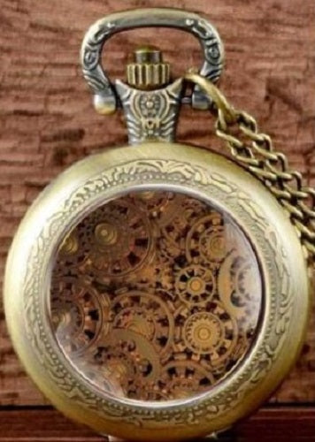 BRASS BEIGE TAN GEARS SMALL WORKING POCKETWATCH POCKET WATCH WITH CHAIN AND CLASP - MASS PRODUCED