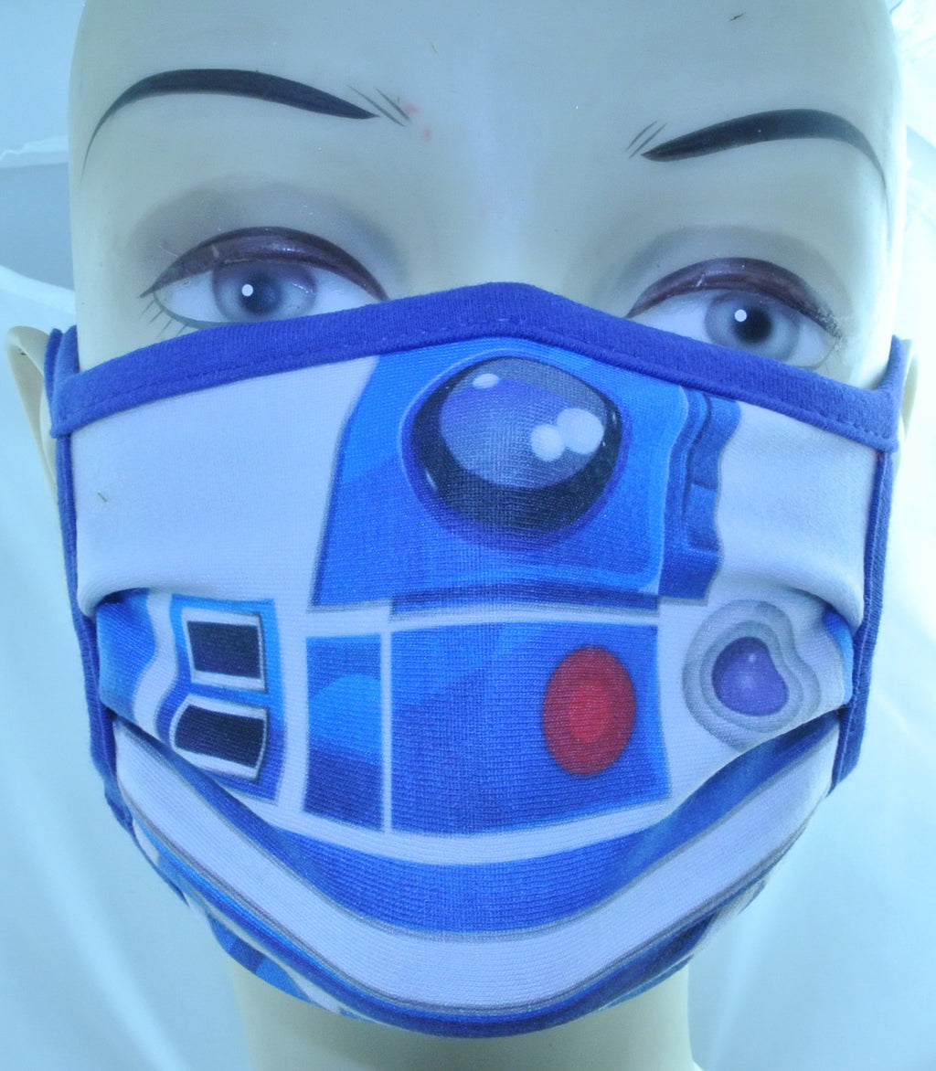 STAR WARS DISNEY R2D2 BLUE FACE MASK BRAND NEW CLOTH REUSABLE REUSEABLE WASHABLE MEDIUM - MASS PRODUCED