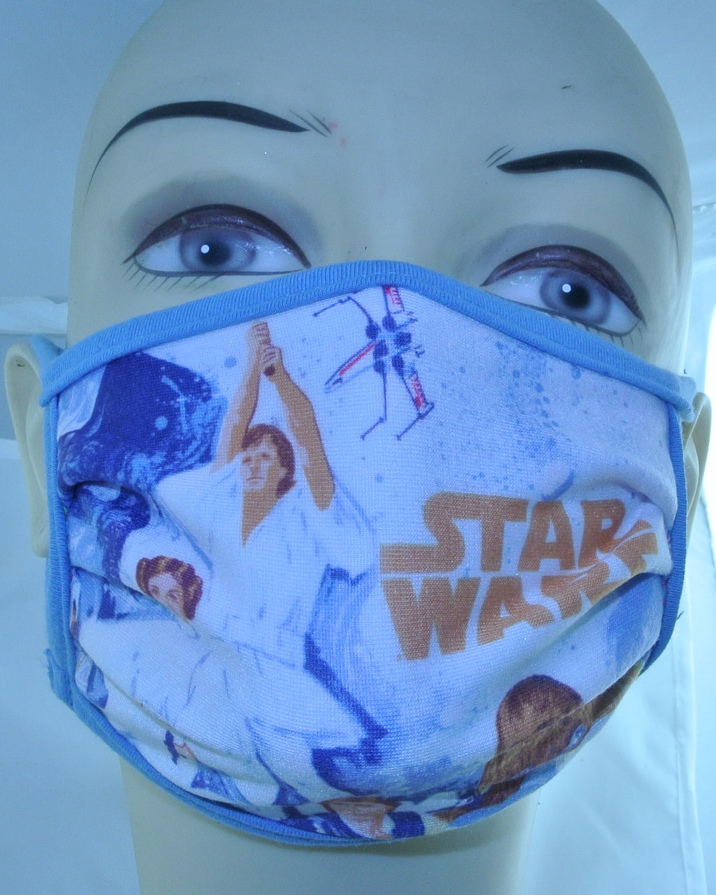 STAR WAS AUTHENTIC SHOP DISNEY STAR WARS FACE MASK BRAND NEW VINTAGE POSTER PRINCESS LEIA HAN SOLO LUKE SKYWALKER CHEWBACCA LIGHT BLUE WASHABLE REUSABLE REUSEABLE CLOTH - MASS PRODUCED