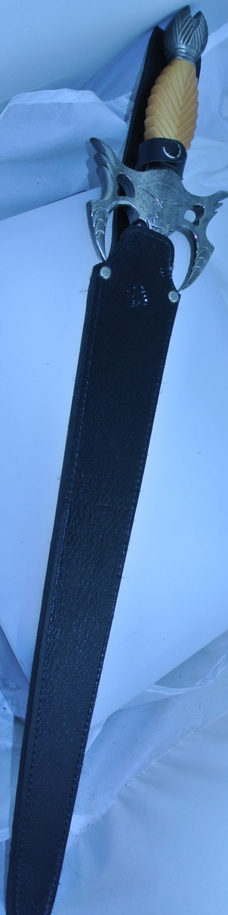 GENUINE REAL AUTHENTIC SCA RENAISSANCE SWARDS SWORD CUTLASS KATANA WITH BLACK FAUX LEATHER SHEATH SCABBARD - MASS PRODUCED