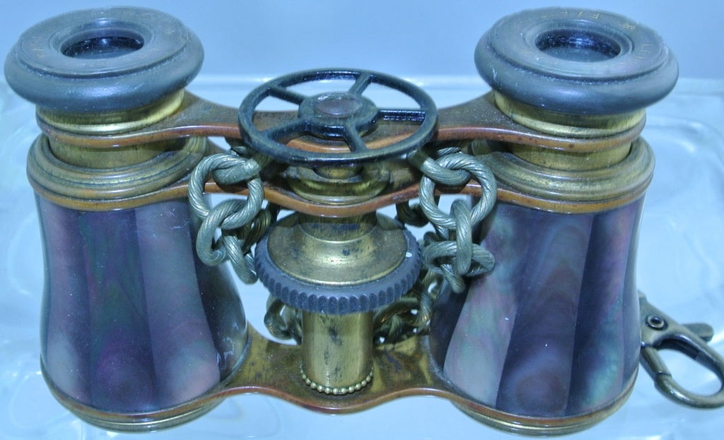 *RARE* VINTAGE ABALONE LEMAIRE PURPLE MOTHER OF PEARL MOP BRASS 5 ARM WATCH CLOCK GEAR BRASS CHAIN CLASP BINOCULARS OPERA GLASSES STARR WILDE STEAMPUNK FORTRESS
