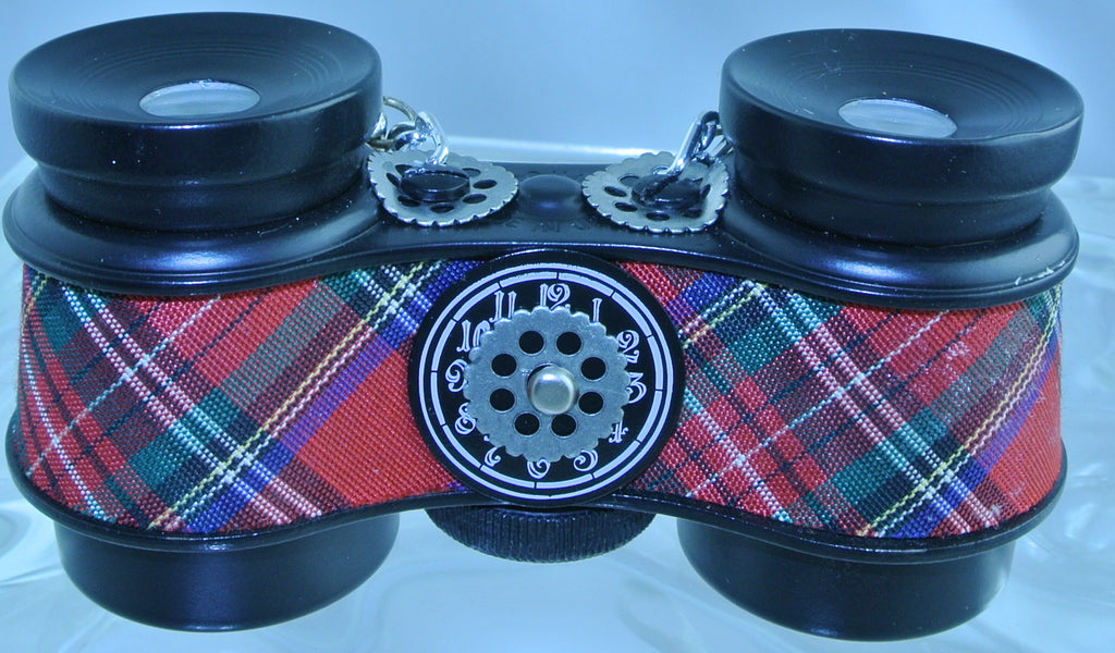 VINTAGE RED TARTAN PLAID BLACK CLOCK WATCH FACE DIAL SILVER GEAR BLACK FAUX LEATHER BRAIDED STRAP BINOCULARS OPERA GLASSES STARR WILDE STEAMPUNK FORTRESS