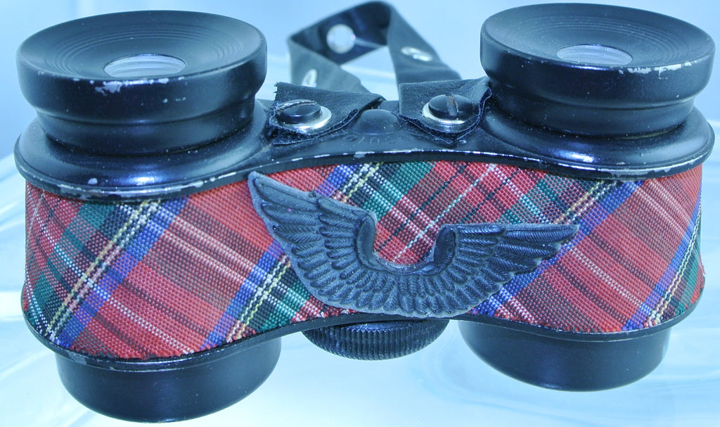 VINTAGE RED PLAID TARTAN BLACK WINGS BLACK EYELET STRAP BINOCULARS OPERA GLASSES STARR WILDE STEAMPUNK FORTRESS