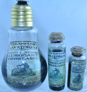 STARR WILDE STEAMPUNK POTION GLASS BOTTLE BICYCLE PENNY FARTHING OIL LIGHTBULB BOTTLES 4 SIZES TO CHOOSE FROM