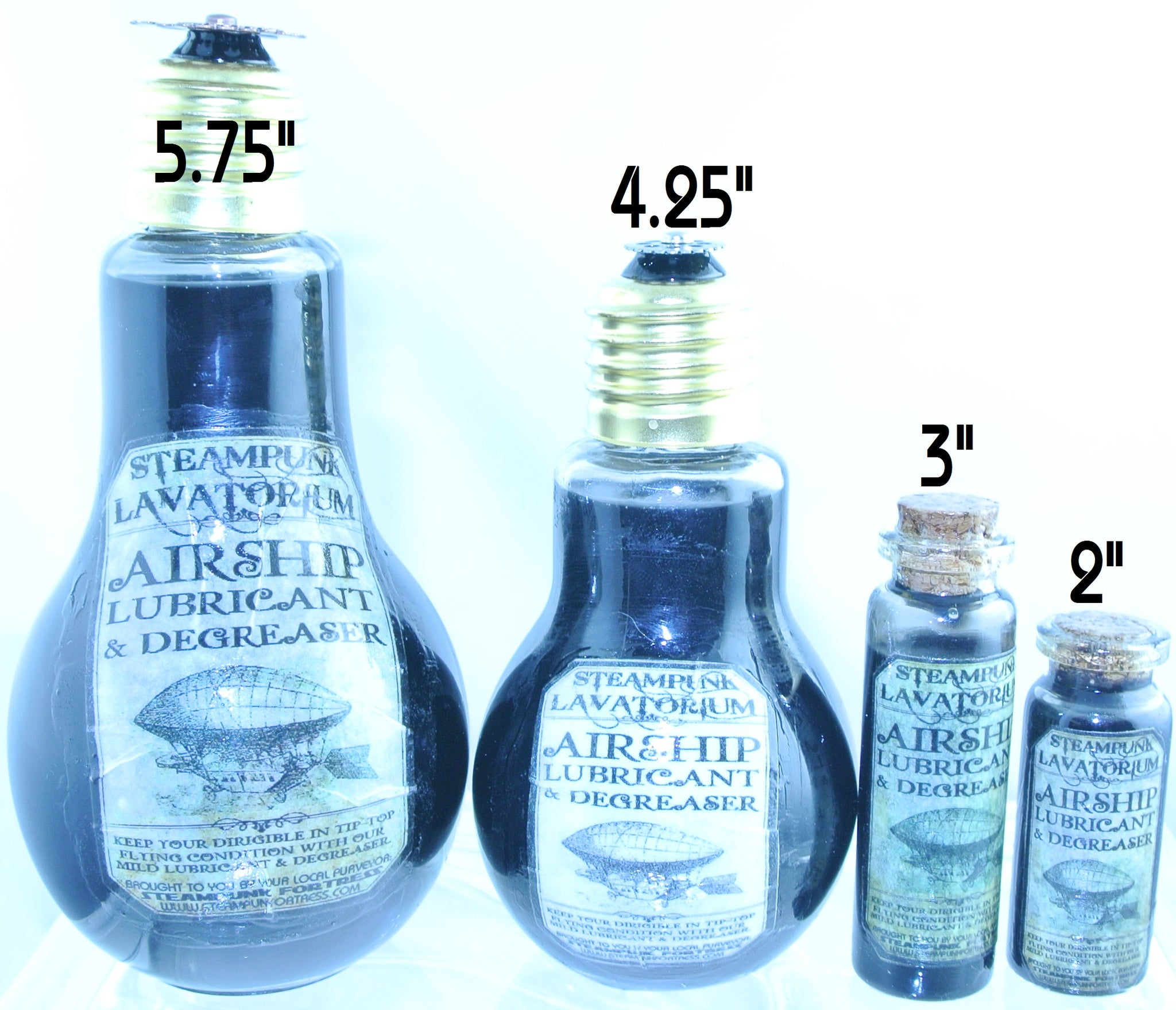 STARR WILDE STEAMPUNK POTION GLASS BOTTLES AIRSHIP OIL LIGHTBULB 4 SIZES TO CHOOSE FROM
