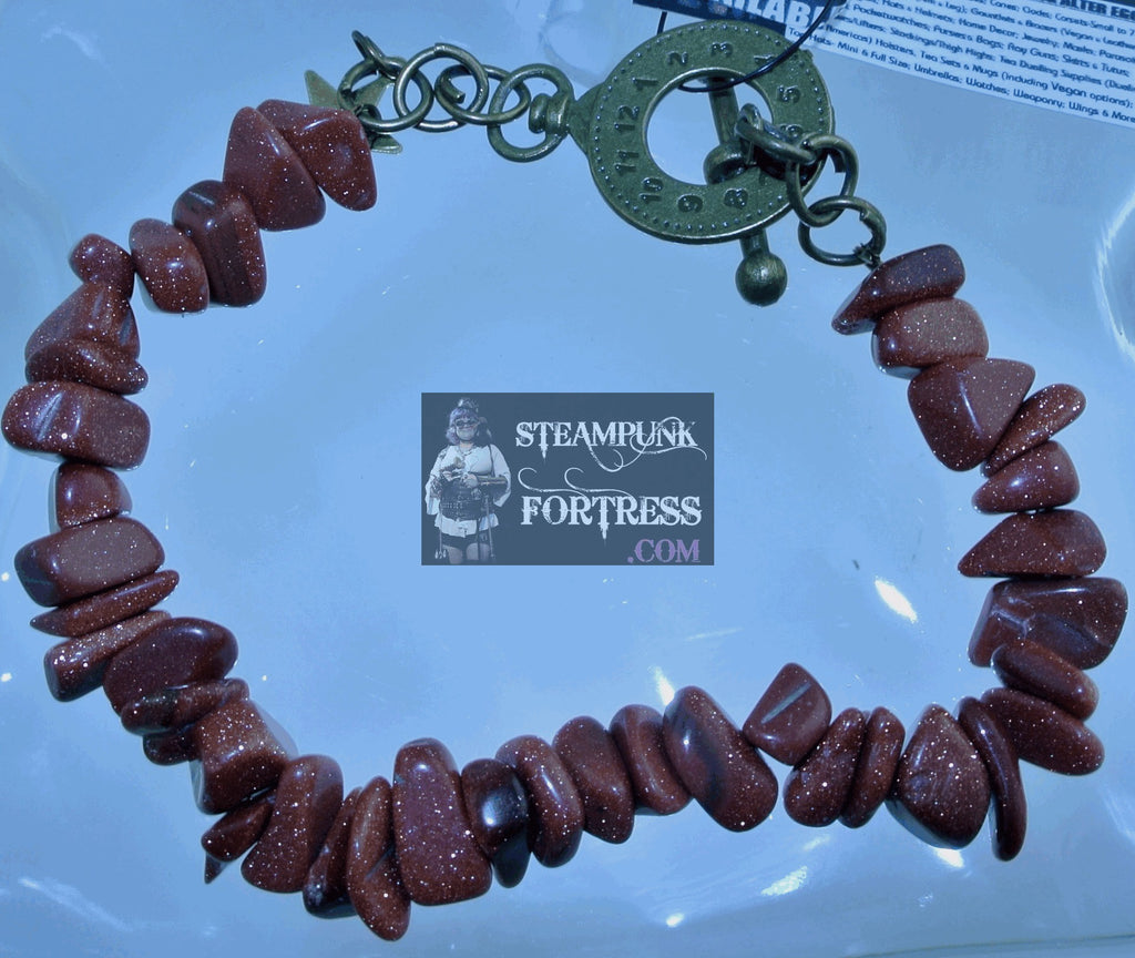 BRASS GOLDSTONE BROWN GEMSTONE CHIPS BRACELET SET AVAILABLE STARR WILDE STEAMPUNK FORTRESS