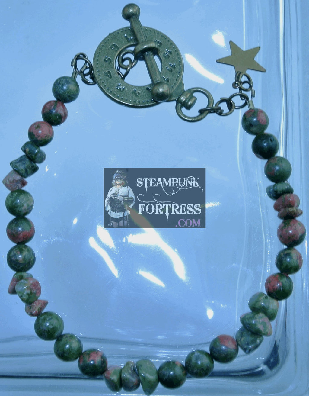 BRASS UNAKITE GEMSTONE 3 ROUNDS 3 CHIPS BRACELET SET AVAILABLE STARR WILDE STEAMPUNK FORTRESS