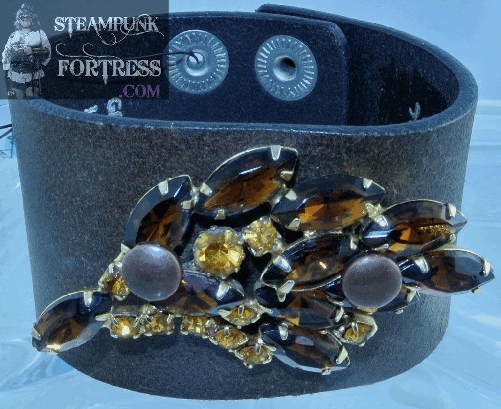 BROWN FAUX LEATHER BROWN GOLD YELLOW VINTAGE RHINESTONES SPRAY BAND BRACELET STARR WILDE STEAMPUNK FORTRESS