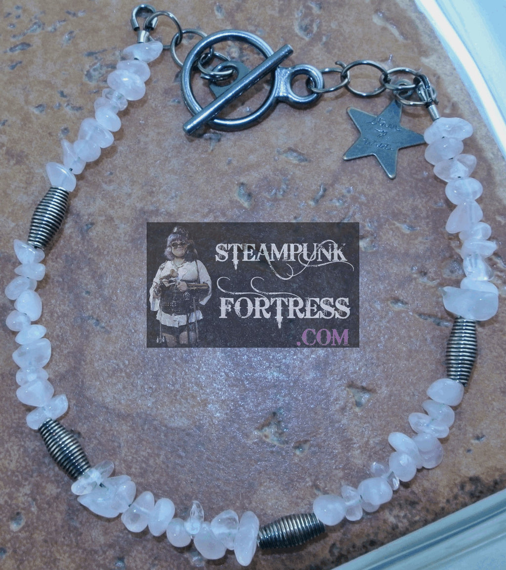GUNMETAL ROSE QUARTZ GEMSTONE CHIPS SPRINGS BRACELET SET AVAILABLE STARR WILDE STEAMPUNK FORTRESS