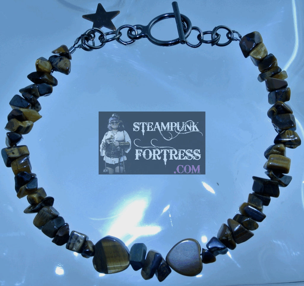 GUNMETAL TIGERS EYE GEMSTONE HEARTS CHIPS BRACELET SET AVAILABLE STARR WILDE STEAMPUNK FORTRESS
