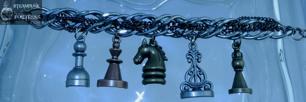 SILVER CHESS PIECES 5 SILVER BLACK CHAIN BRACELET STARR WILDE STEAMPUNK FORTRESS