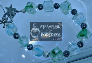 GLOW IN THE DARK GREEN CLEAR BEADS SILVER FILIGREE BRACELET STARR WILDE STEAMPUNK FORTRESS