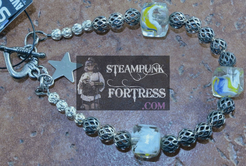 GLOW IN THE DARK YELLOW CLEAR BEADS SILVER FILIGREE BEADS BRACELET SET AVAILABLE STARR WILDE STEAMPUNK FORTRESS