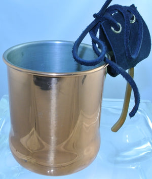 CUP COPPER BRASS HANDLE BLACK SUEDE STRAP MUG TEA DUELING DUELLING STARR WILDE STEAMPUNK FORTRESS COSPLAY COSTUME