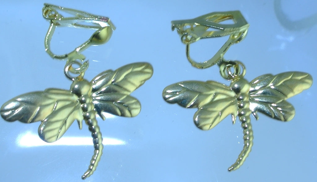 CLIPS DRAGONFLY DRAGONFLIES CLIP ON EARRINGS FAIRY STARR WILDE STEAMPUNK FORTRESS