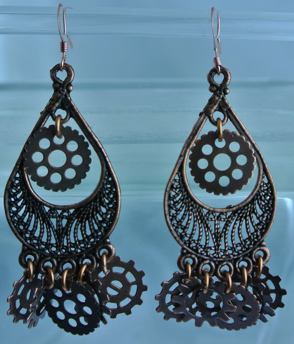 COPPER TEARDROP FILIGREE 6 GEARS PIERCED EARRINGS WATCH CLOCK STARR WILDE STEAMPUNK FORTRESS