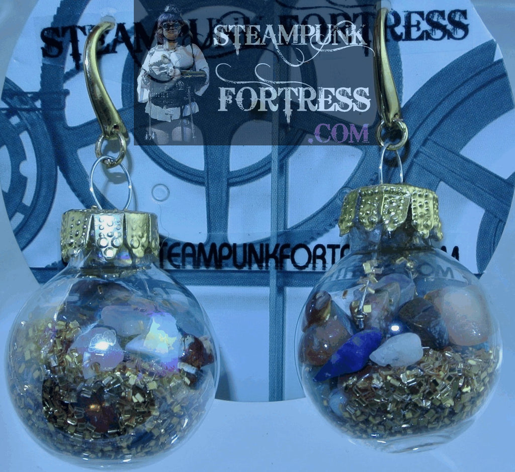 GOLD CHRISTMAS ORNAMENTS GOLD GLITTER MIXED GEMSTONES GLASS VIAL GLOBE PIERCED EARRINGS STARR WILDE STEAMPUNK FORTRESS