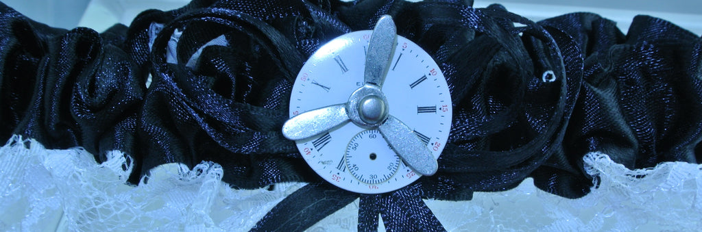 BLACK WHITE LACE ELGIN WATCH CLOCK PORCELAIN DIAL FACE SILVER 3 ARM KINETIC SPINS SPINNING PROPELLER GARTER STARR WILDE STEAMPUNK FORTRESS