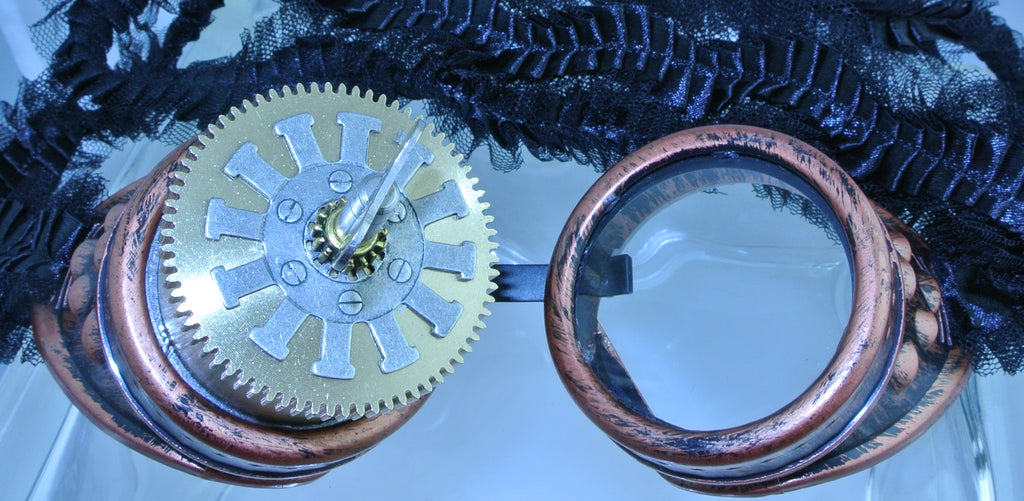 COPPER RIGHT EYE BRASS BARREL SILVER WATCH CLOCK GEAR KINETIC TURN KEY BLACK PLEATED RIBBON GOGGLES STARR WILDE STEAMPUNK FORTRESS