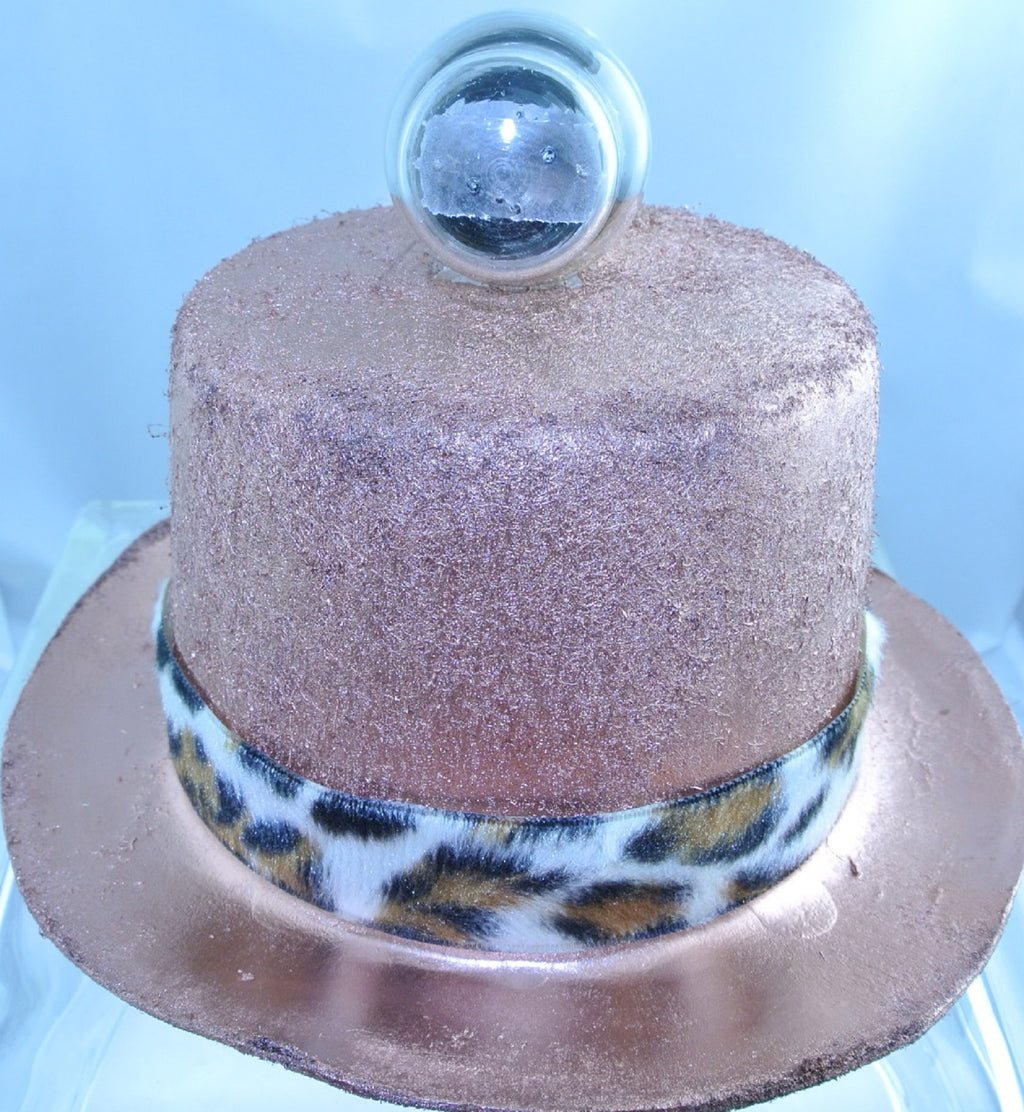 COPPER ROCKET TOP LEOPARD FAUX FUR RIBBON BAND LARGE TOP HAT STARR WILDE STEAMPUNK FORTRESS