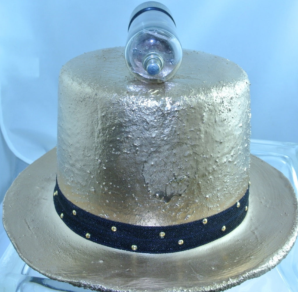 ROSE GOLD ROCKET TOP BLACK STRETCH GOLD STUD RIBBON BAND LARGE TOP HAT STARR WILDE STEAMPUNK FORTRESS