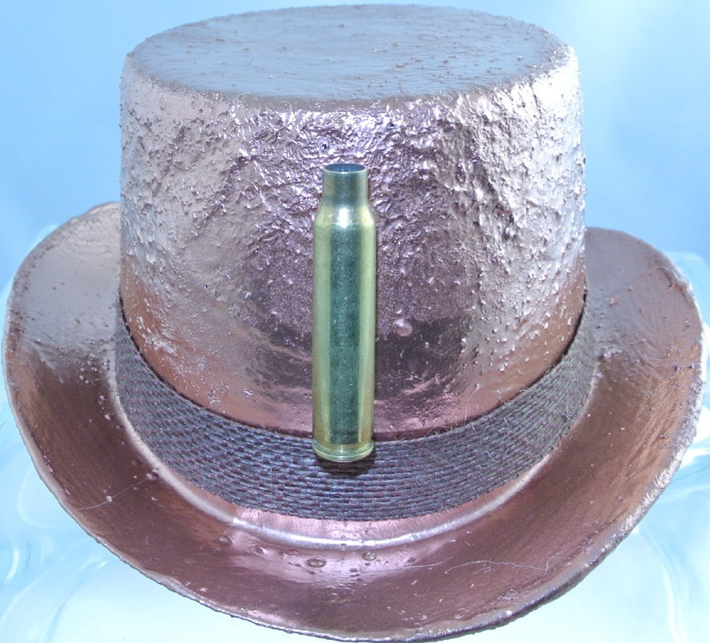 COPPER BULLET CASING FRONT BROWN BURLAP JUTE RIBBON BAND MEDIUM MINI TOP HAT STARR WILDE STEAMPUNK FORTRESS