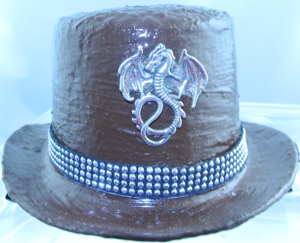 BROWN SILVER DRAGON FRONT BLACK 4 ROW SILVER STUDDED RIBBON BAND SMALL MINI TOP HAT STARR WILDE STEAMPUNK FORTRESS