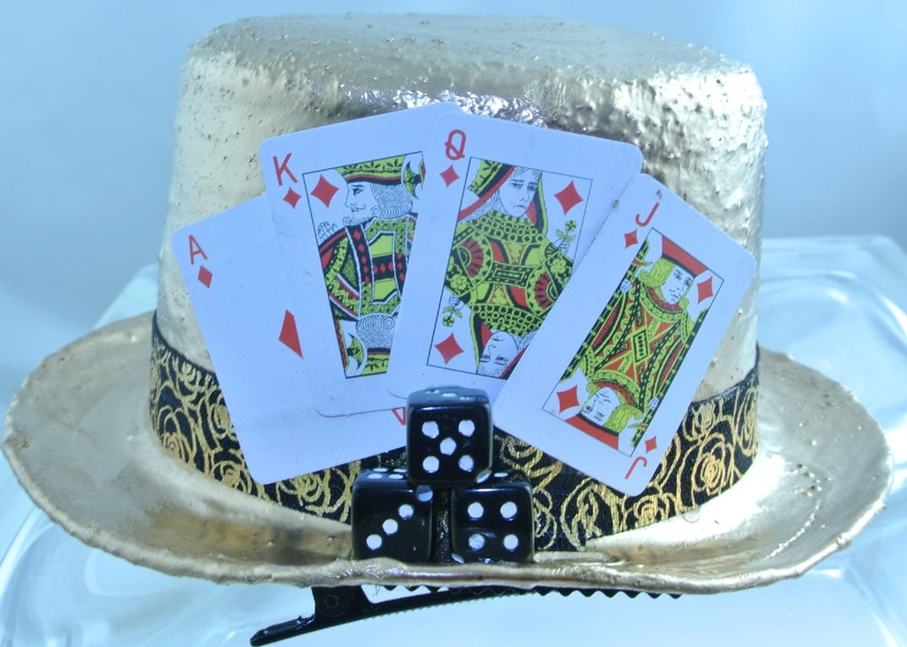 ROSE GOLD RED DIAMOND 4 CARDS KING QUEEN JACK ACE 3 BLACK DICE BLACK GOLD FLOWER RIBBON BAND SMALL MINI TOP HAT STARR WILDE STEAMPUNK FORTRESS