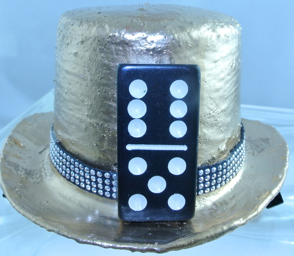 ROSE GOLD BLACK DOMINO FRONT BLACK 4 ROW SILVER STUDDED RIBBON BAND SMALL MINI TOP HAT STARR WILDE STEAMPUNK FORTRESS