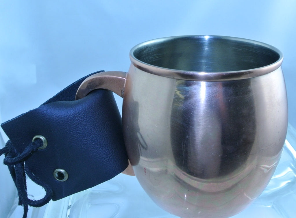 COPPER CUP MUG BLACK LEATHER STRAP BRASS EYELETS TEA DUELING DUELLING COSPLAY COSTUME RENAISSANCE MEDIEVAL SCA STARR WILDE STEAMPUNK FORTRESS