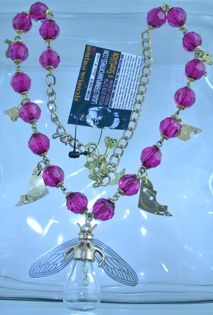 GOLD DRAGONFLY BULB 19 PINK CRYSTALS GOLD GEARS NECKLACE WATCH CLOCK MOVEMENTS STARR WILDE STEAMPUNK