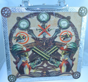 WOOD BELLE SHOOTING GALLERY SILVER TRIM SMALLER GREEN FELT INTEREIOR CIGAR BOX PURSE STARR WILDE STEAMPUNK FORTRESS