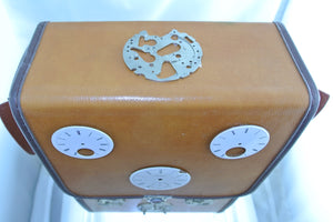 TAN TALL BROWN 3 PORCELAIN DIALS WATCH CLOCK FACES 3 MOVEMENTS FRONT PURSE STARR WILDE STEAMPUNK FORTRESS