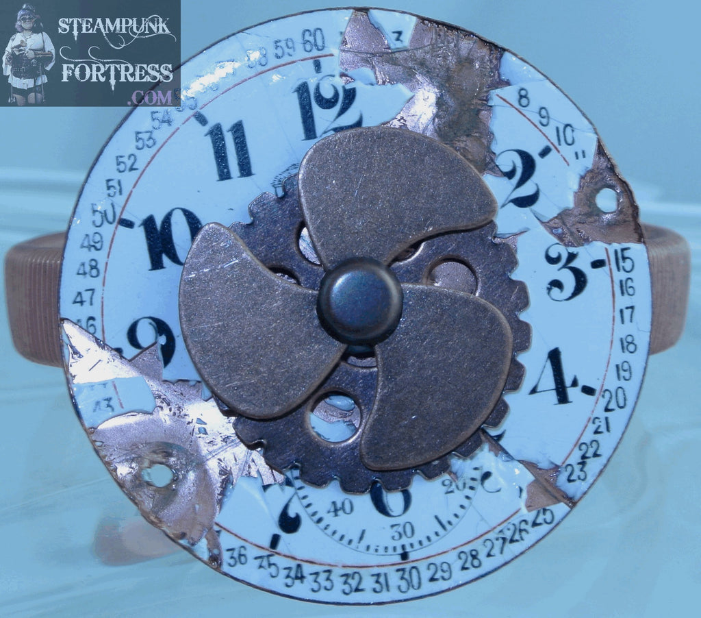 SLEEVE ARM GARTER COPPER WATCH CLOCK FACE PORCELAIN DAL COPPER SPINS SPINNING PROPELLER KINETIC COPPER GEAR STRETCH BRACELET STARR WILDE STEAMPUNK FORTRESS