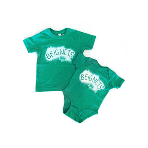 BEIGNETS GREEN ONESIE/TODDLER TEE