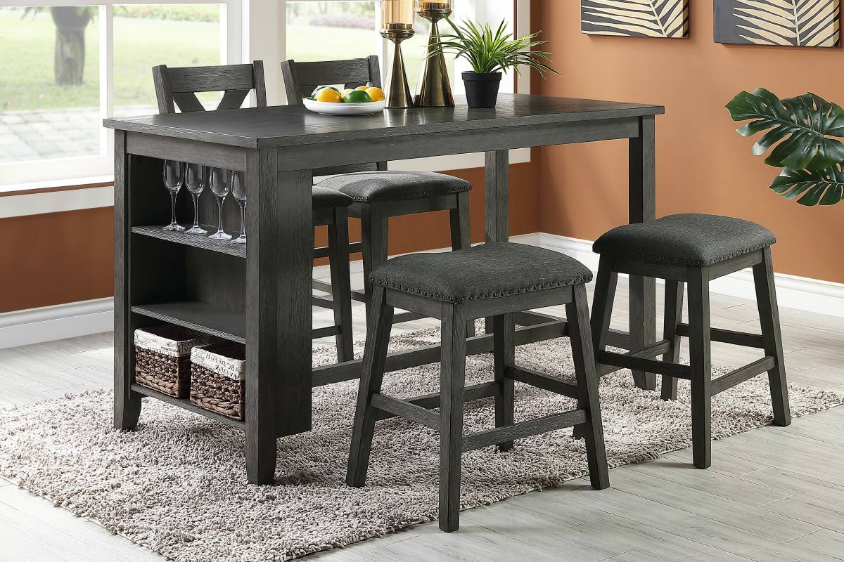 F2488 Dining Room Counter Height Table W/Storage