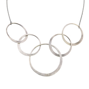 Elliptical Silver 5 Ring Necklace