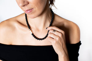 Black Onyx, Pearl Necklace