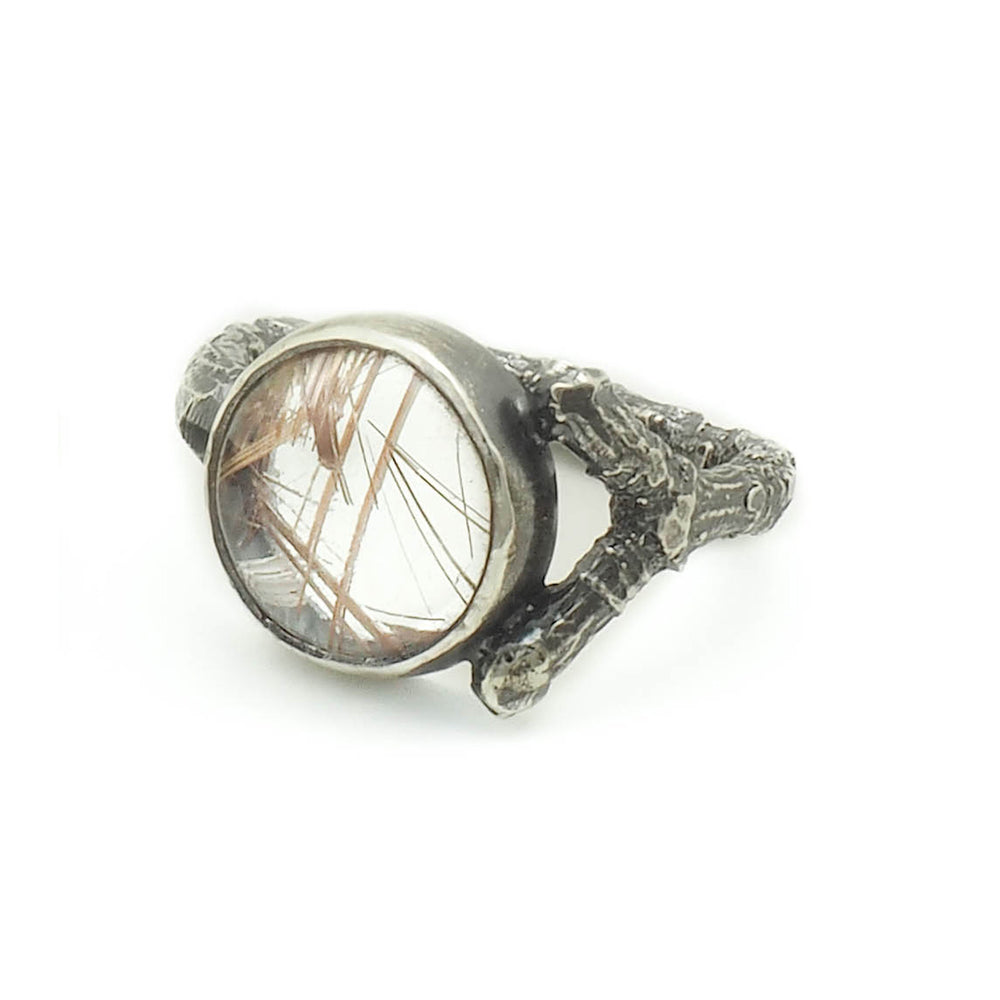 Branch Ring with Rutilated Quartz