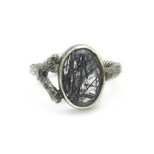 Load image into Gallery viewer, Branch Ring - Tourmalinated Quartz