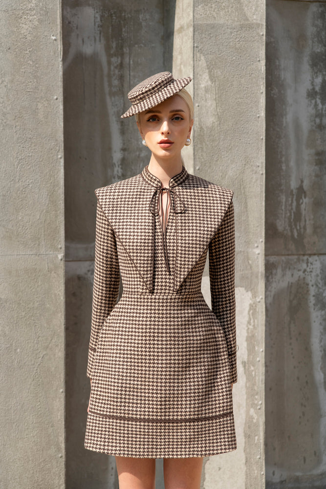 Elizabeth Dress Small Brown Houndstooth