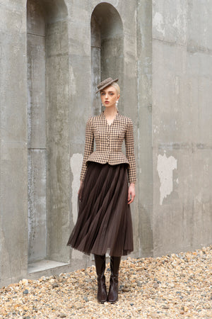 Load image into Gallery viewer, Bloom Blazer Brown and Beige Houndstooth