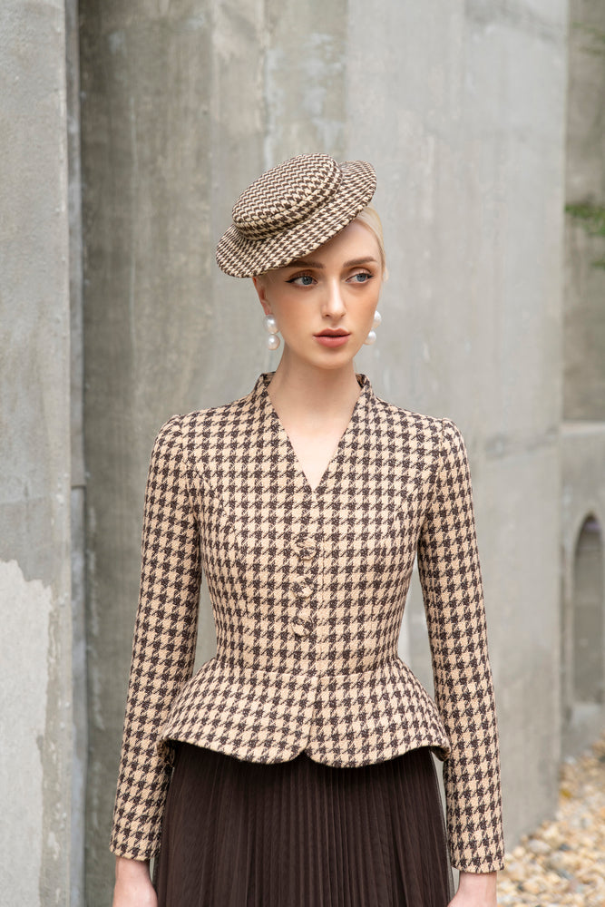 Bloom Blazer Brown and Beige Houndstooth