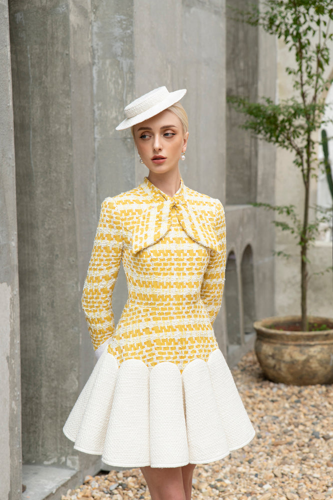 Kelly Dress Yellow Tweed